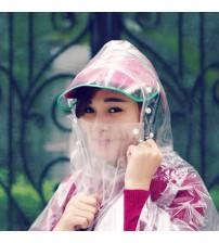 Áo mưa vi sinh trong suốt có khẩu trang che mặt loại 1 đầu